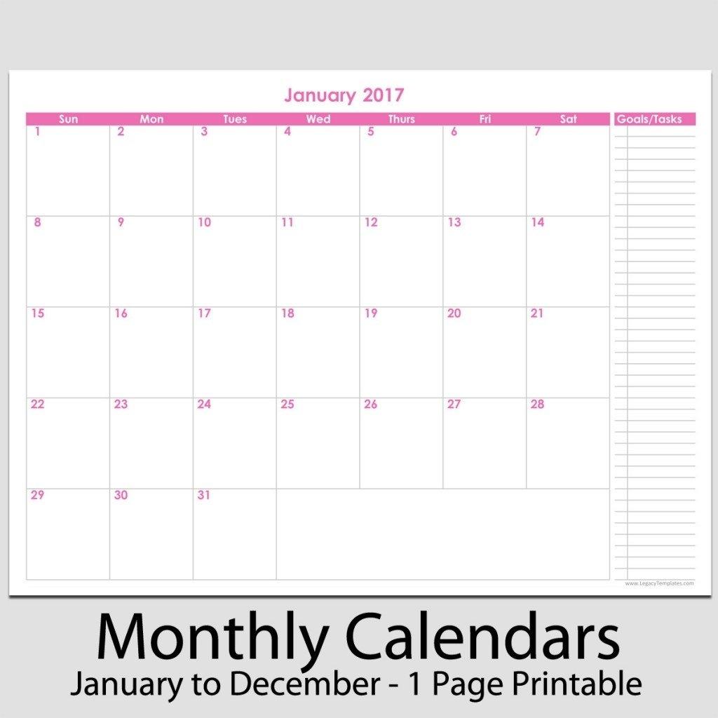 Free Printable Calendar 8.5 X 11 | Ten Free Printable A Self Printed 8 1/2 X 11 Calender