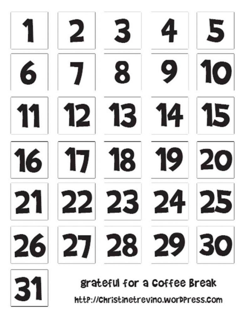 Free Printable Calendar Numbers 1-31 Pdf In 2020 Numbers 1 31 Printable
