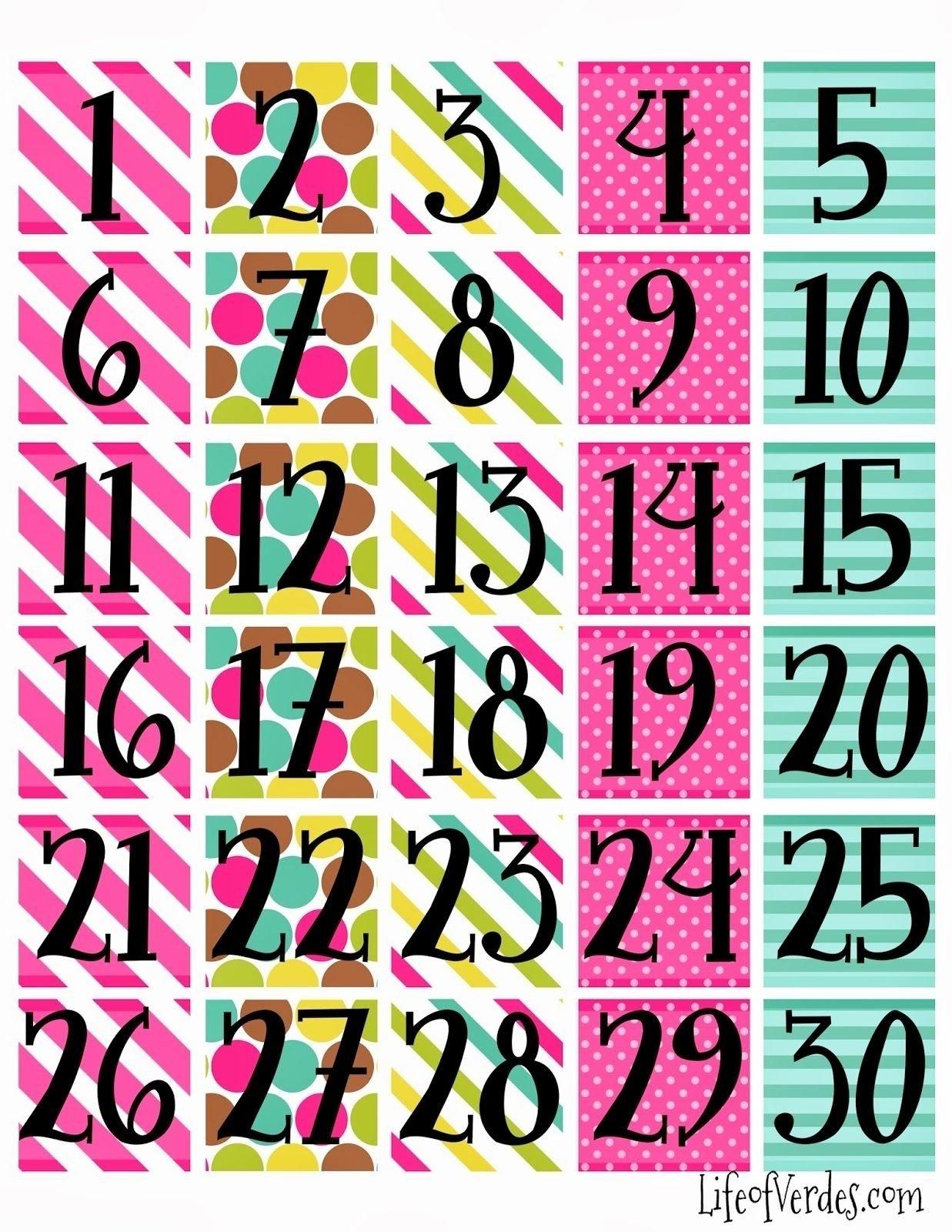 Free Printable Calendar Numbers 1-31 Pdf | Month Calendar Numbers 1 To 31 Printable