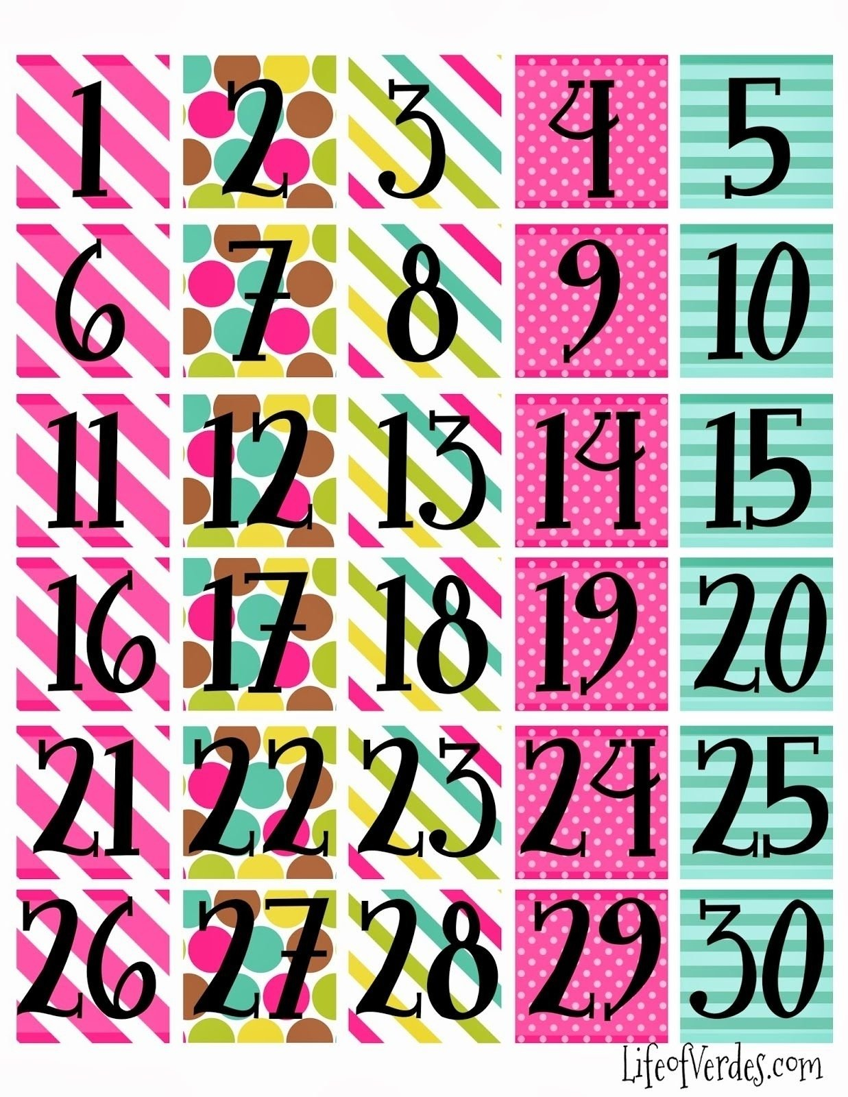 Free Printable Calendar Numbers 1-31 Pdf | Month Calendar Numbers For Calendars 1-31 Toddlers