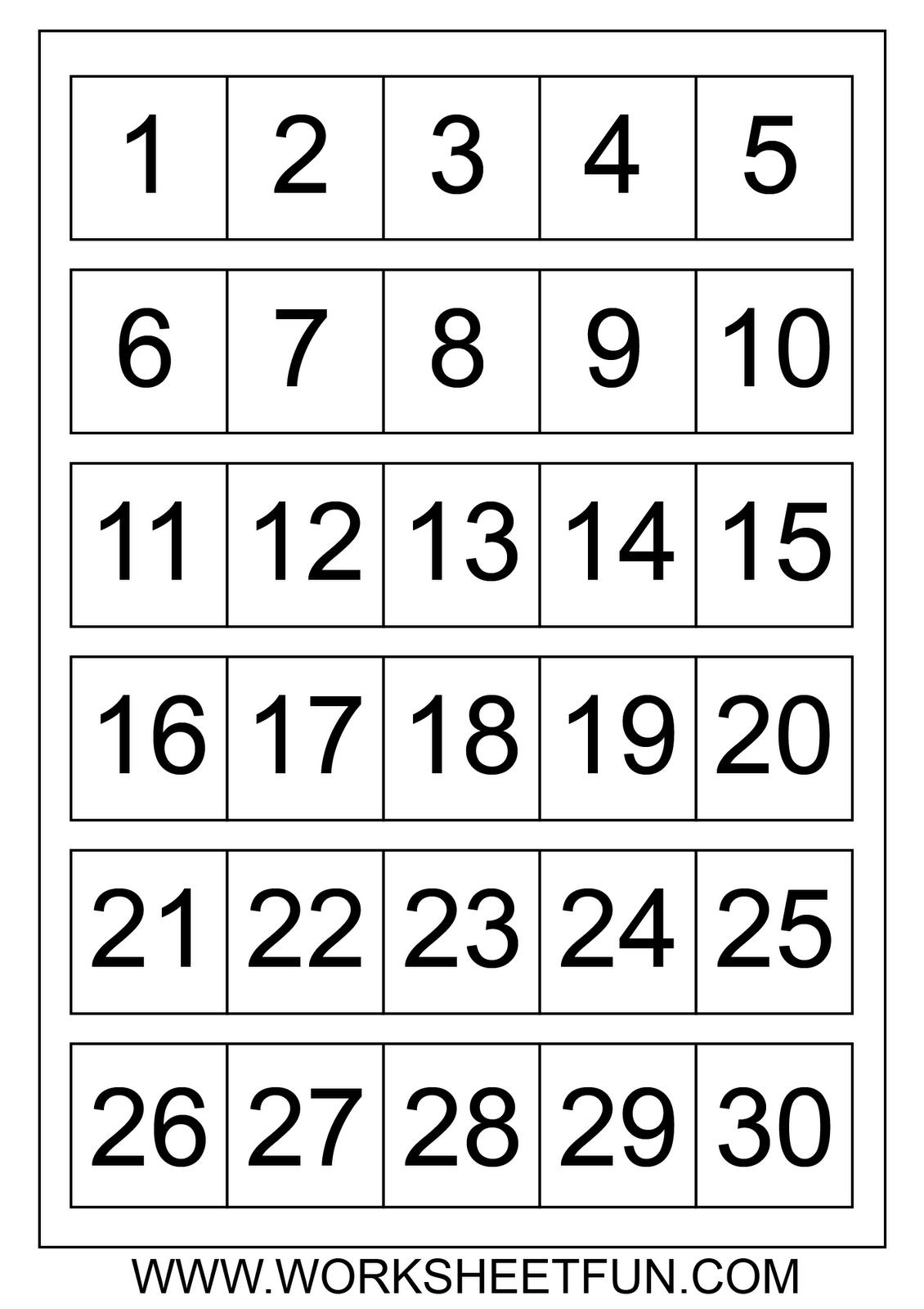 Free Printable Calendar Numbers 1-31 Pdf | Ten Free Numbers 1 To 31 Printable