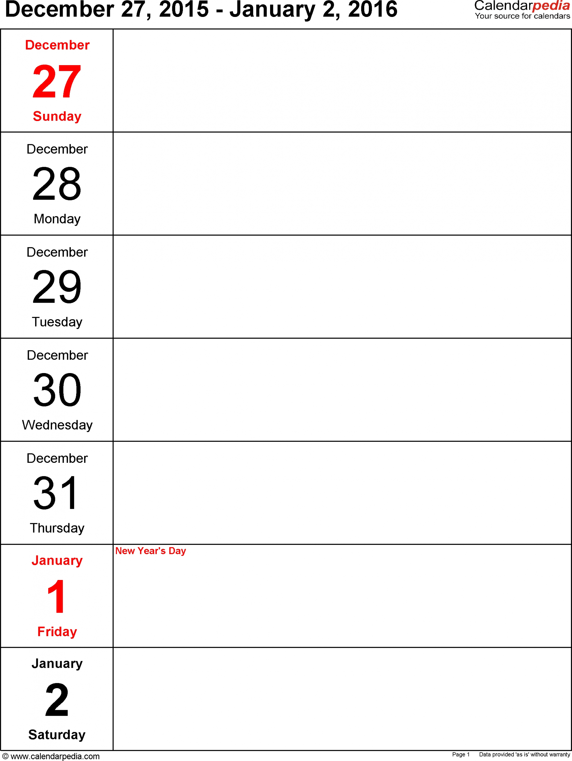 Free Printable Calendar One Week Per Page | Ten Free One Week Calendar Printable