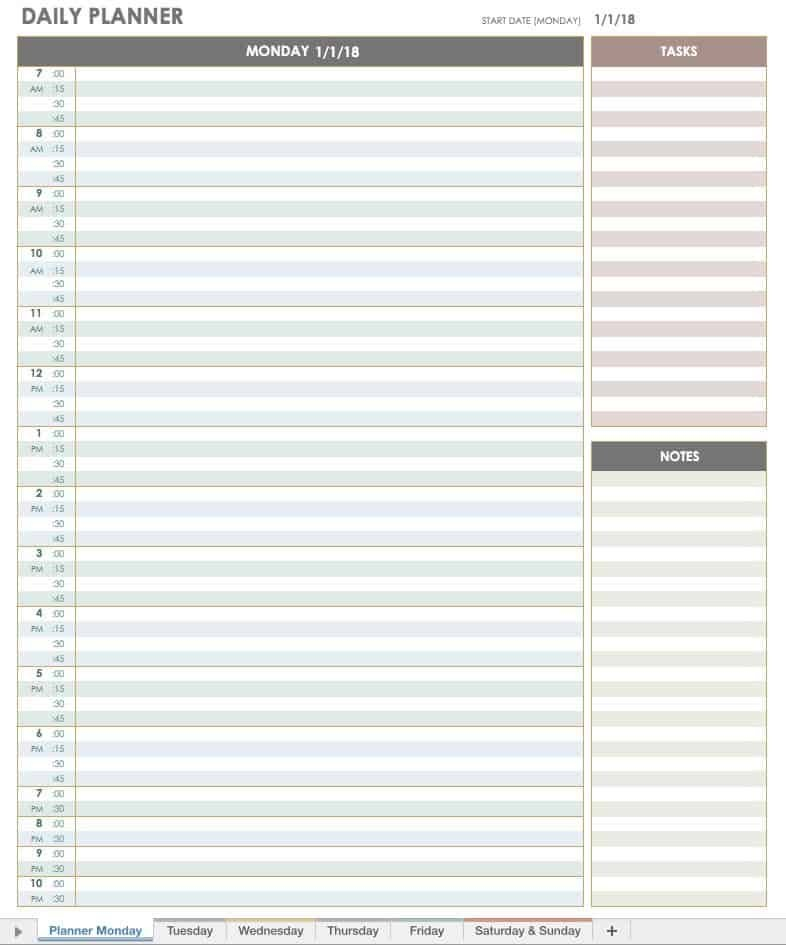 Free Printable Daily Calendar Templates | Smartsheet Daily Calendar By Hour