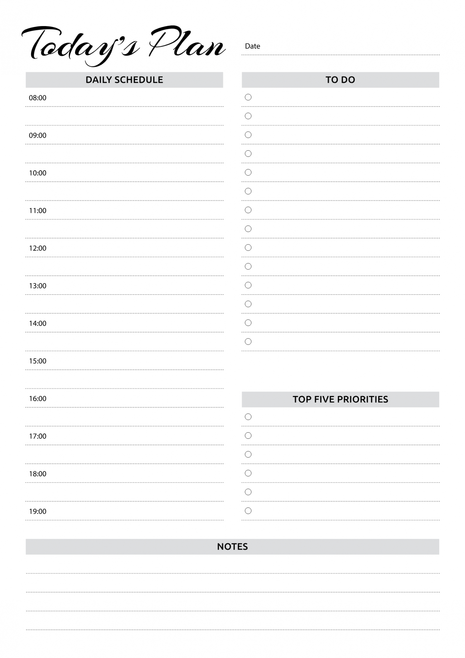 Free Printable Daily Planner With Hourly Schedule & To-Do Daily Calendar By Hour