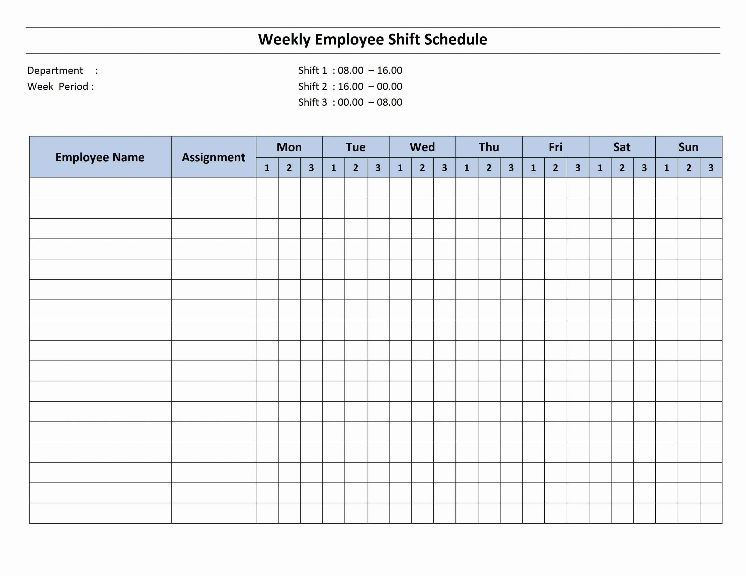 Free Printable Employee Schedule 1 Employee Pdf | Example Printable 8 Week Calendar