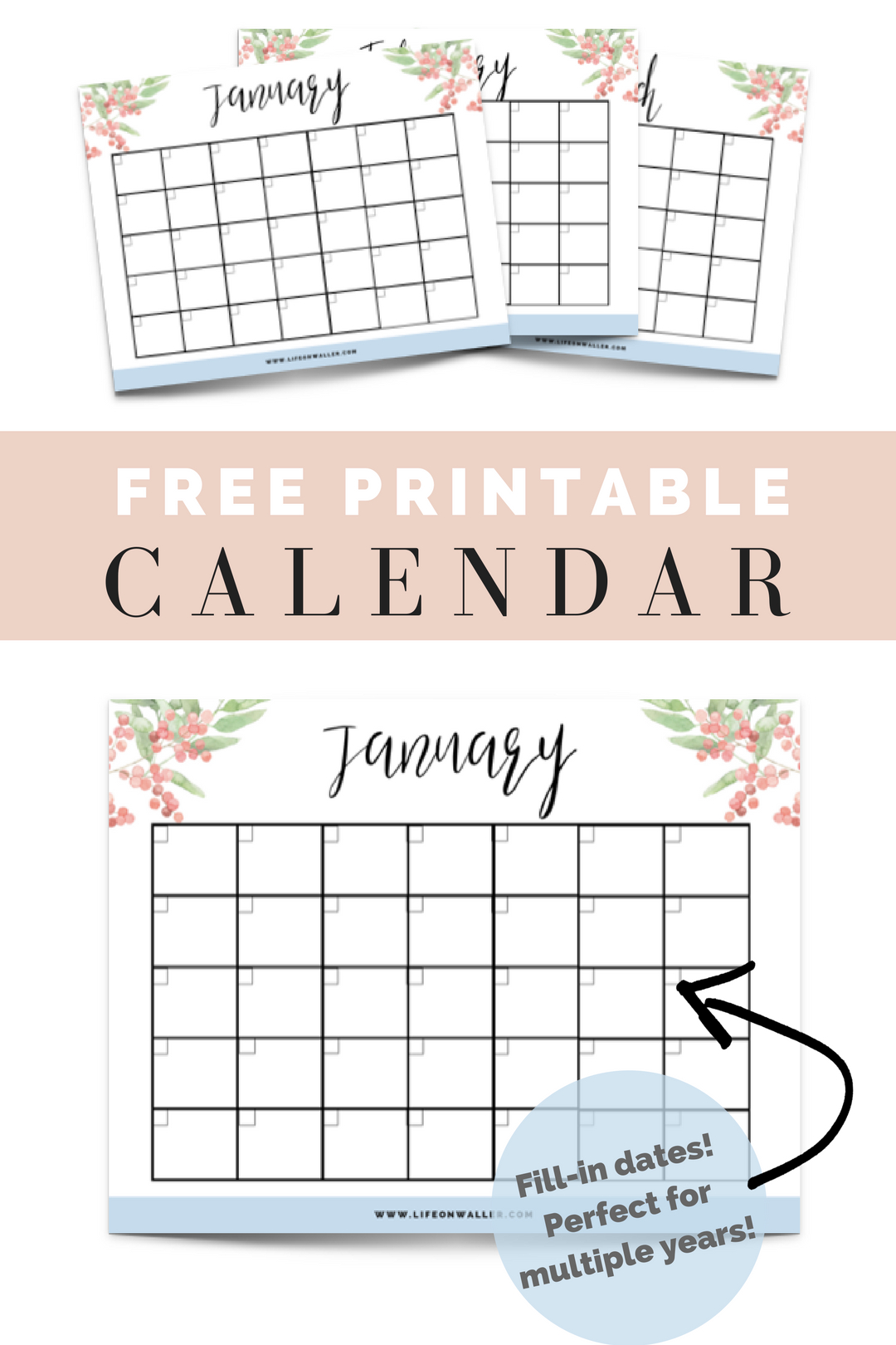 Free Printable Fill-In Floral Calendar | Free Printable Free Printable Fill In Calendars