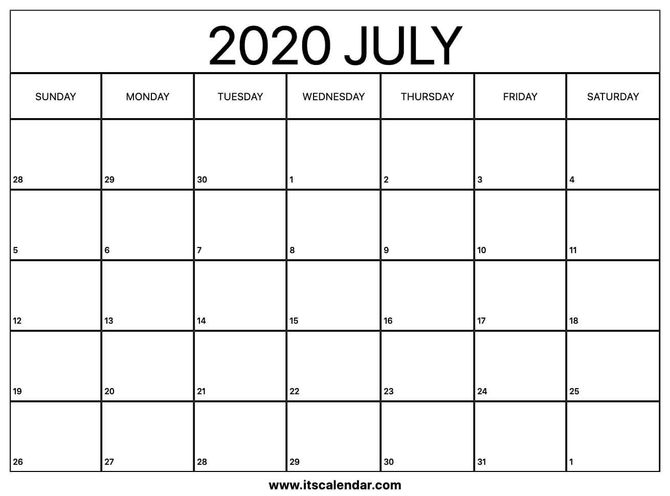 Free Printable July 2020 Calendar Calendars To Fill In And Print