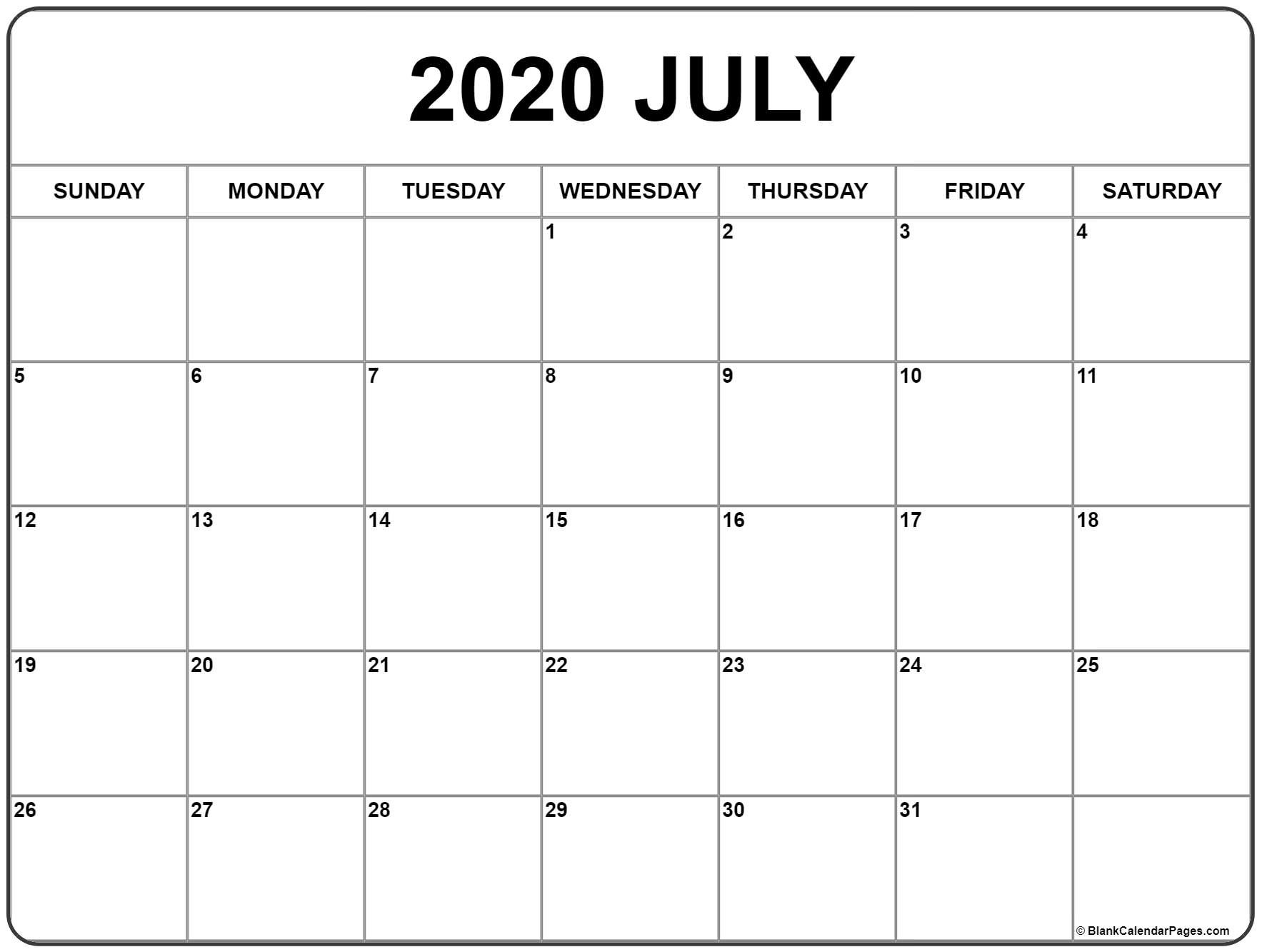 Free Printable July 2020 Calendar Monthly Template The No Frills Calendar