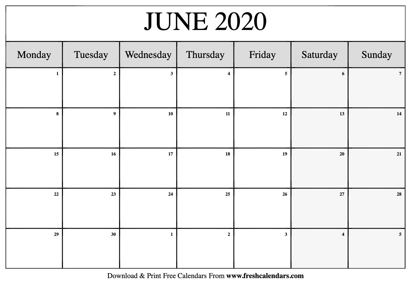 Free Printable June 2020 Calendars May Calendar Starting On Monday