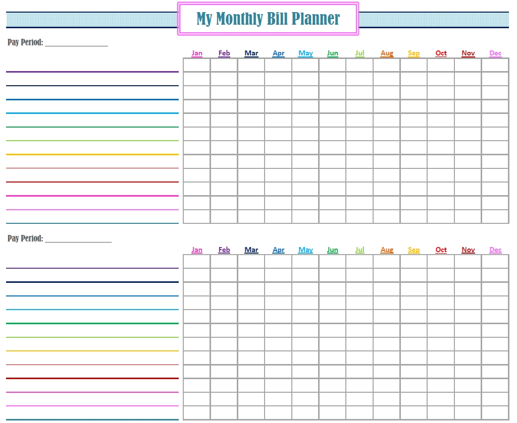 Free Printable Monthly Bill Tracker – Template Calendar Design Period Log Calendar Printable Free