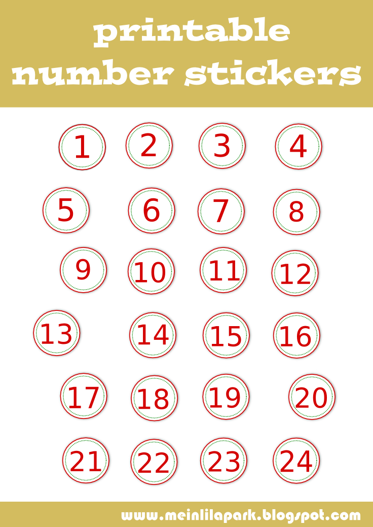 Free Printable Number Stickers - Zahlen Sticker Clipart Numbers For Calendars 1-31 Toddlers