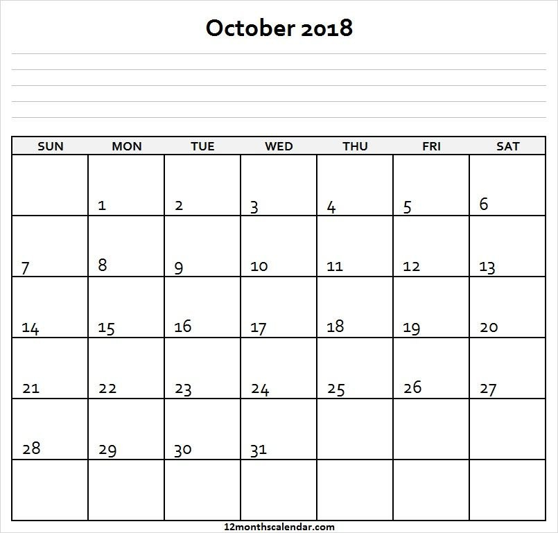 Free Printable October 2018 Calendar With Notes (With Free 12 Month Calendar Template For Expiry Dates