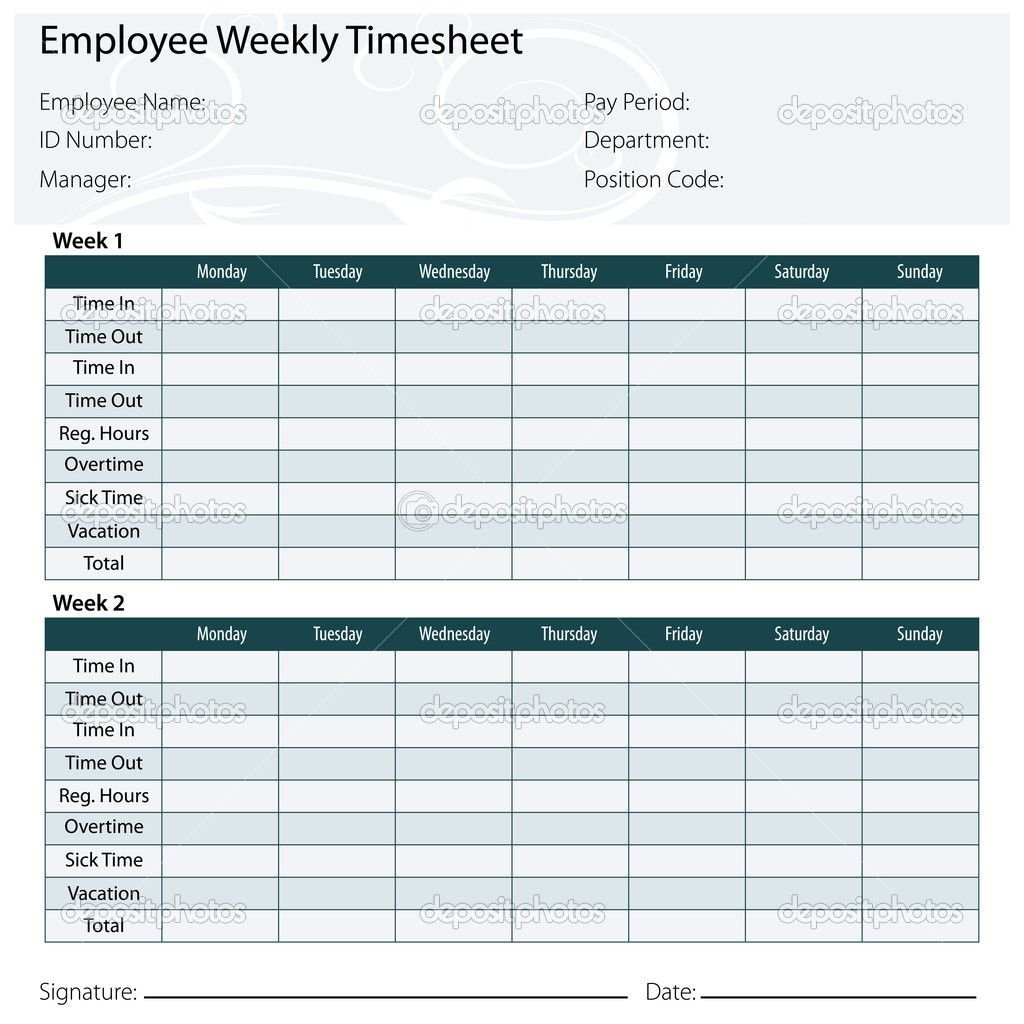 Free Printable Timesheet Templates | Timesheet Template Editable Two Week Employee Schedule