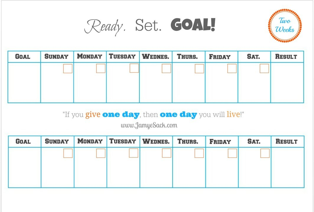 [Free Printable] Two Week Goal Calendar – Jamye Sack 2 Week Calendar Sample