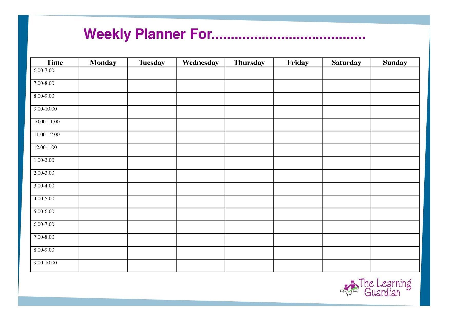 Free Printable Weekly Calendar Templates Weekly Planner Free 7 Day Calendar Template