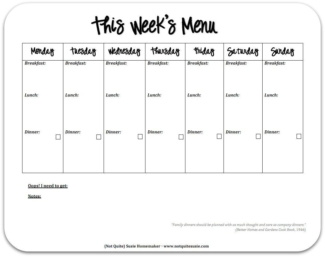 Free Printable Weekly Meal Planner - {Not Quite} Susie Printable 1 Week Schedule