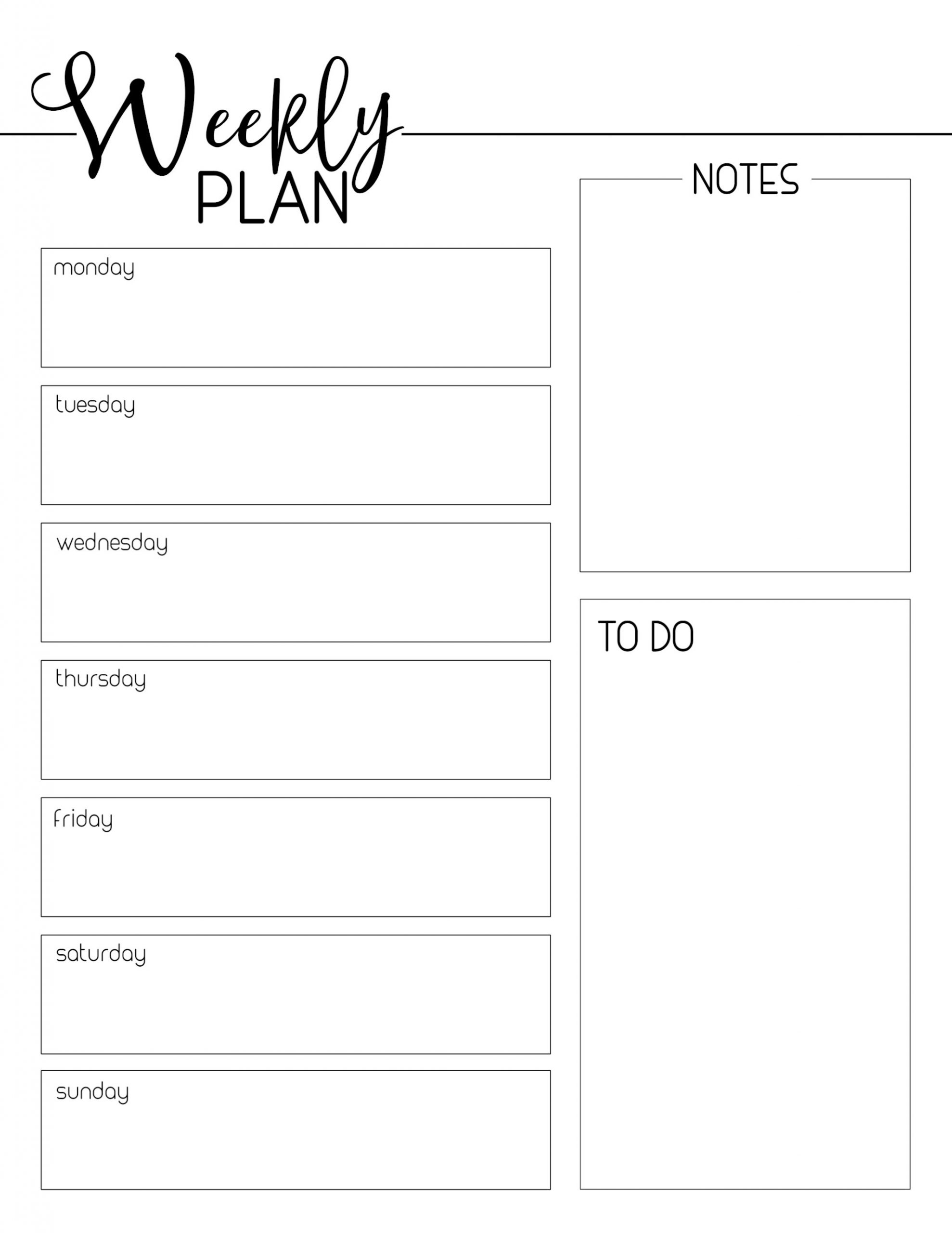 Free Printable Weekly Planner 2020 In Pdf, Word & Excel Week Day Printable Calander Free