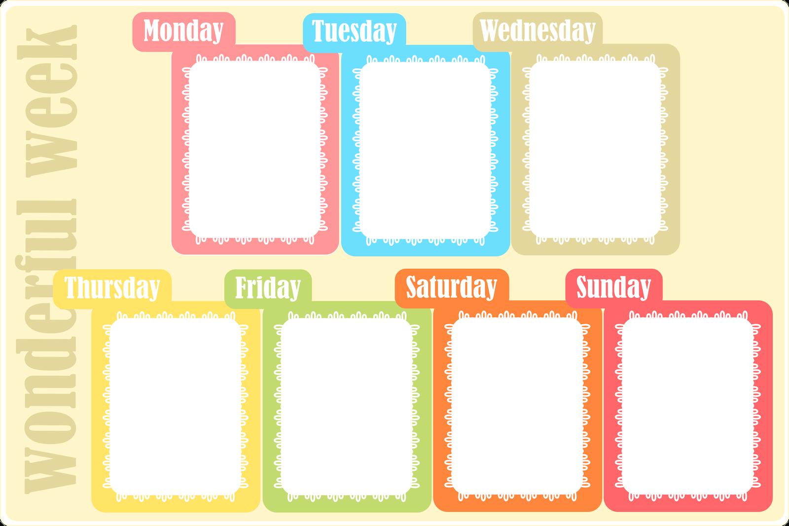 Free Printable Weekly Planner - Ausdruckbarer Wochenplan 1 Week Schedule Printable
