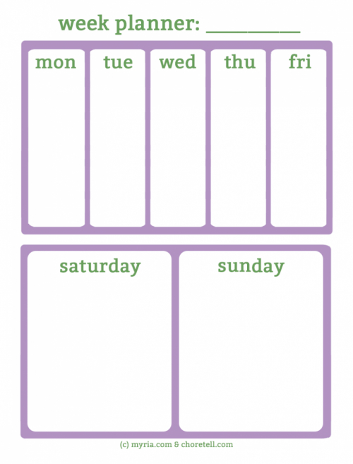 Free Printable Weekly Planners For Busy Weekends - Myria Free Monday Thru Friday Weekly Calendar With Time Slotsprintable