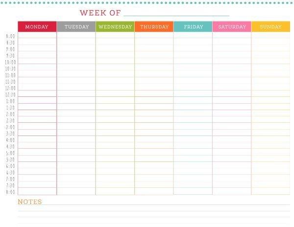 Free Printable Weekly Schedule | Weekly Planner Template 8 Week Printable Timetable