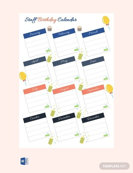 Free Staff Birthday Calendar Template - Pdf | Word (Doc Free Printable Birthday Calendars