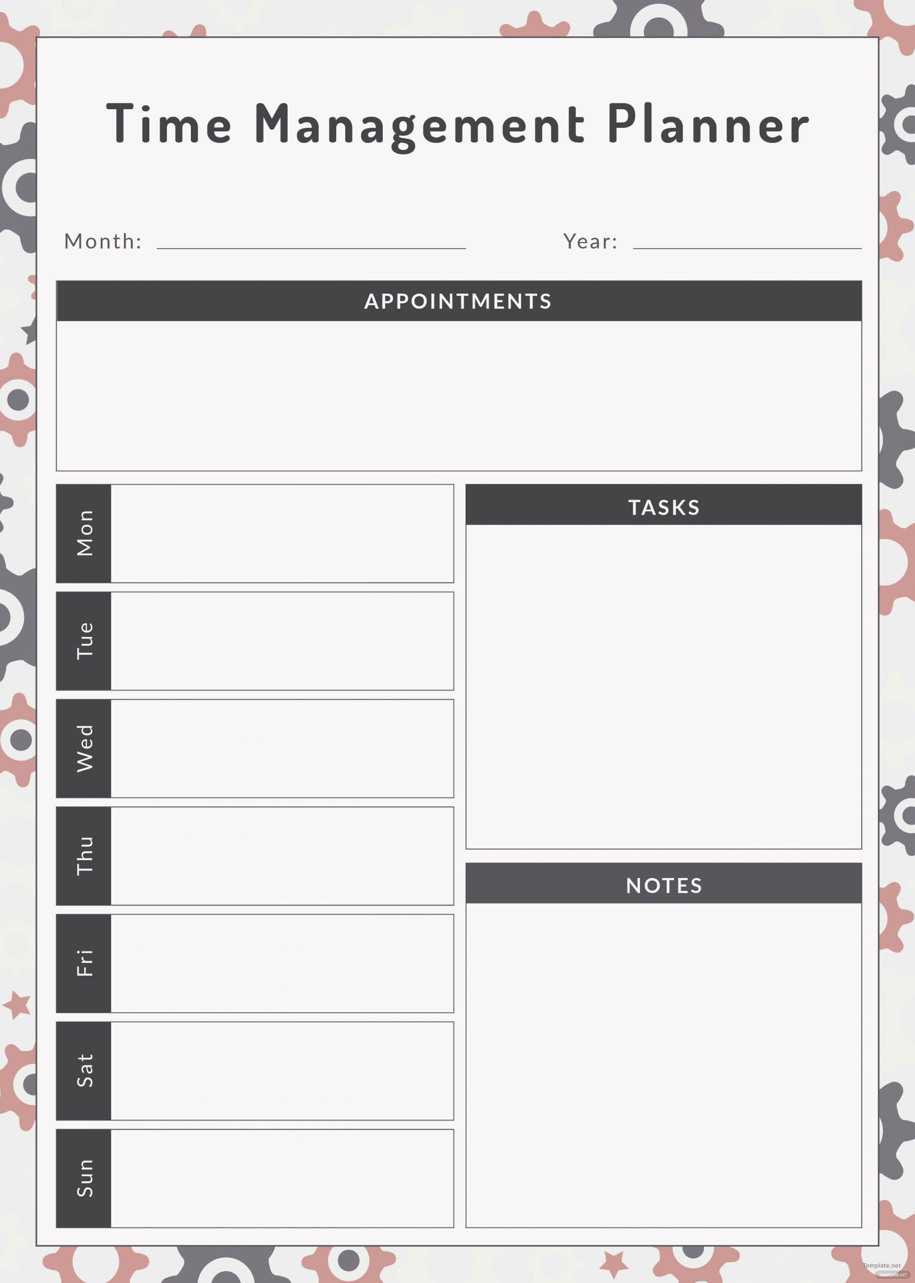 Free Time Management Planner Template In Adobe Illustrator Free Templates For Time Management