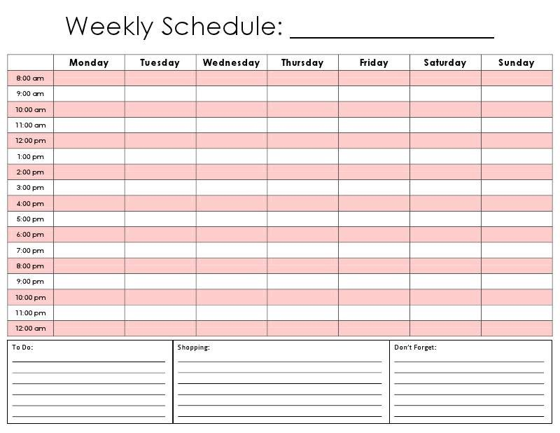 Free Weekly Schedule Template | Shatterlion Printable Daily Hourly Schedule