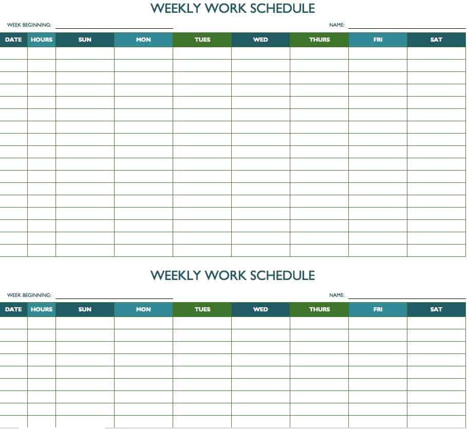 Free Weekly Schedule Templates For Excel - Smartsheet Printable Employee Booked Time Off Calendar