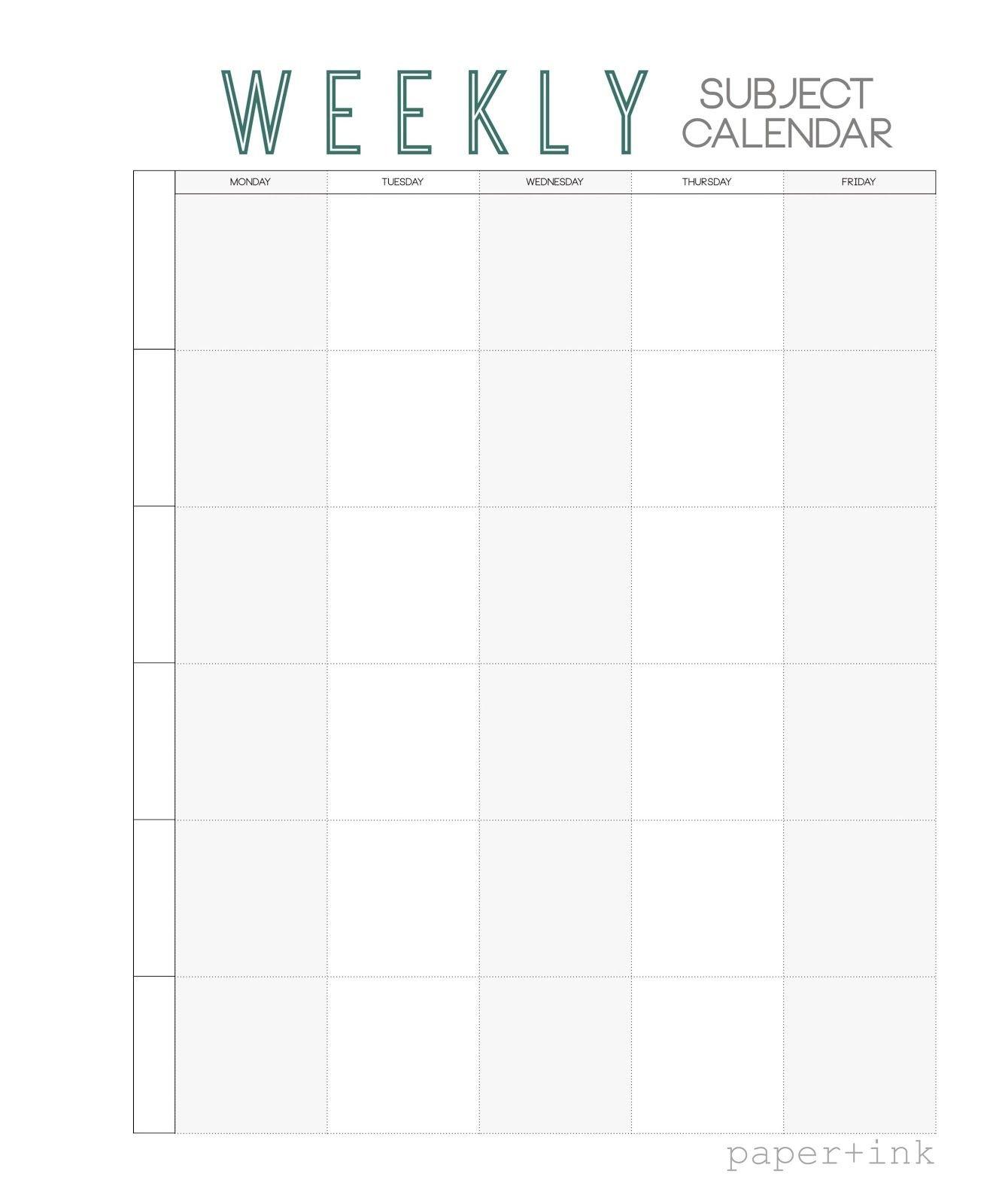 Free Weekly Subject Calendar | School Calendar, Weekly School Calendar Monday Thru Friday
