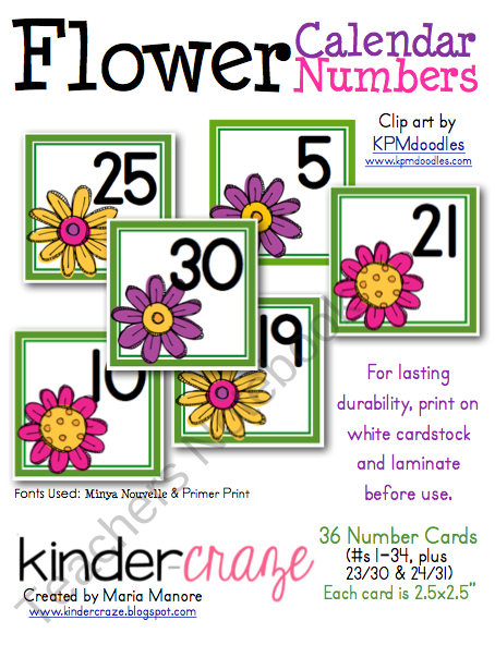 Free~Flower Themed Calendar Numbers Product From Kinder Printable Numbers 1-31 Classroom Sets