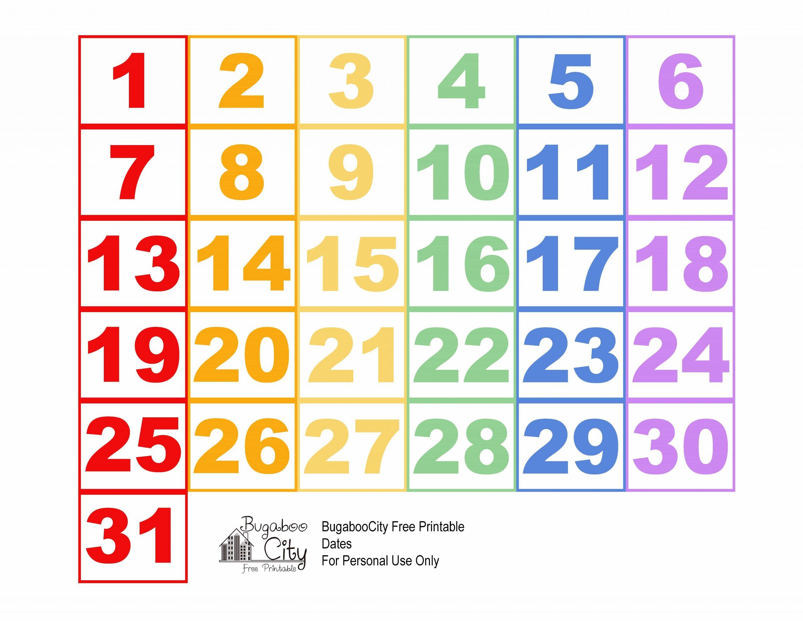 Fresh Printable Calendar Numbers   Free Printable Calendar Numbers 1 31 Printable
