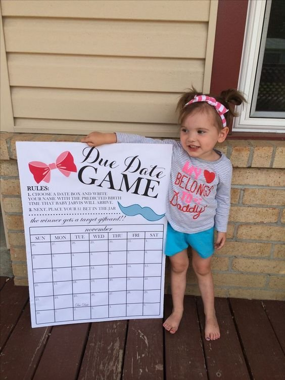 Gender Reveal Due Date Calendar Game! 20X28 Size Poster Baby Due Date Calendar Template