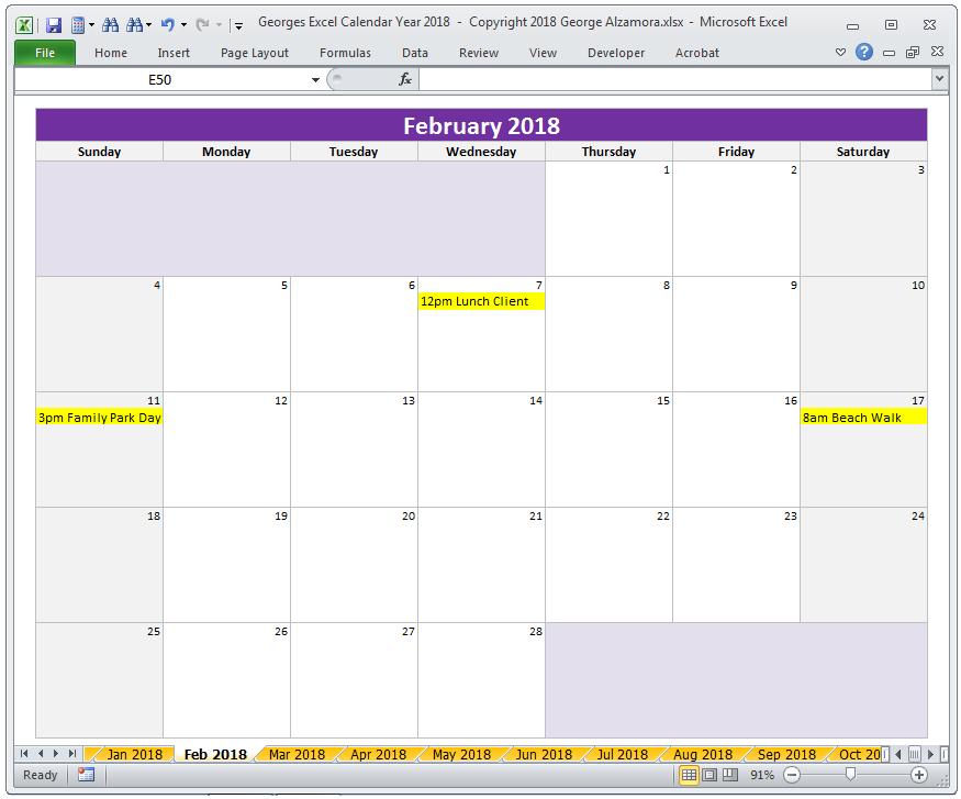 Georges Excel Calendar Year 2018 | Excel Calendar, Yearly Excel 5 Year Calendar
