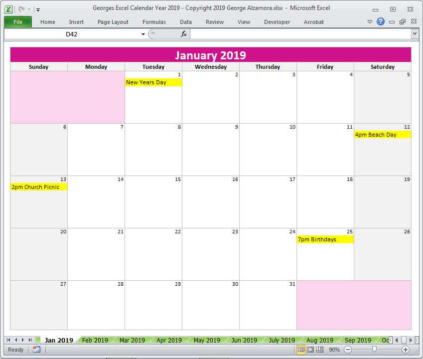Georges Excel Calendar Year 2019 (With Images)   Excel Excel 5 Year Calendar