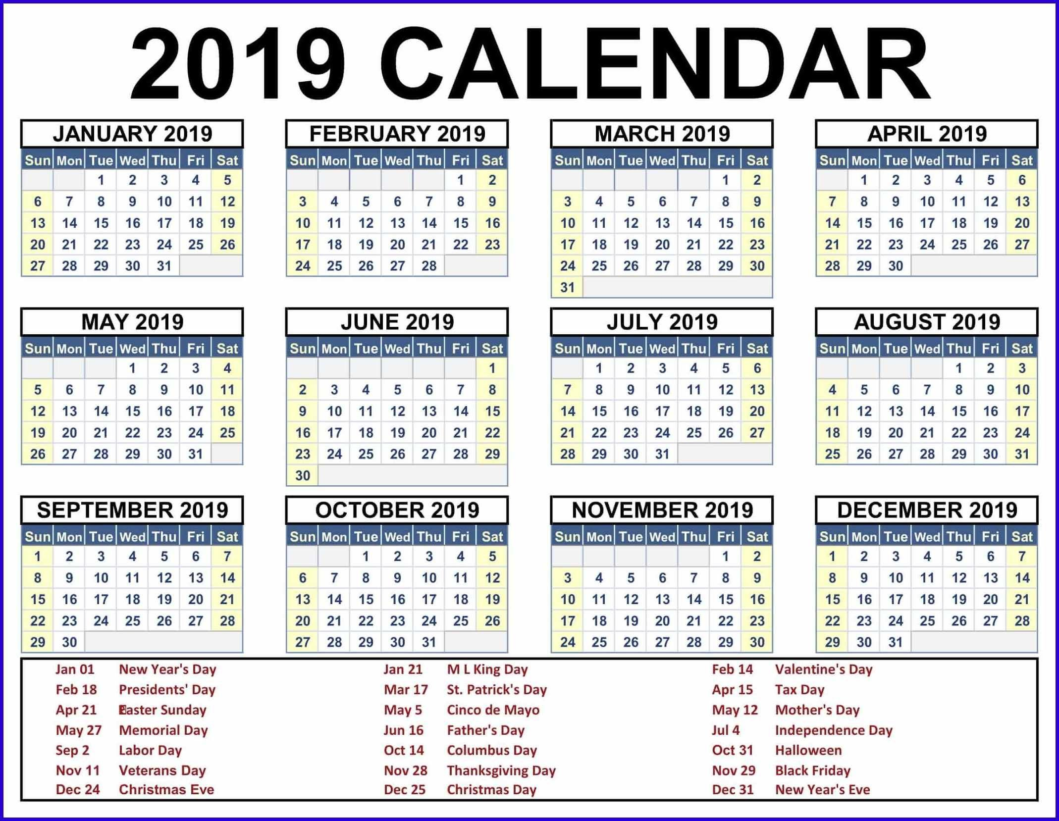 Get 12 Month One Page Calendar Template For 2019 Holiday Time Off Calendar Excel