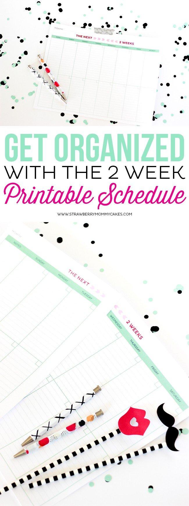 Get Organized With The 2 Week Printable Schedule Calendar Two Week Printable