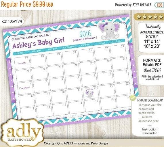 Girl Elephant Guess Due Date Calendar For Due Date Guess Calendar