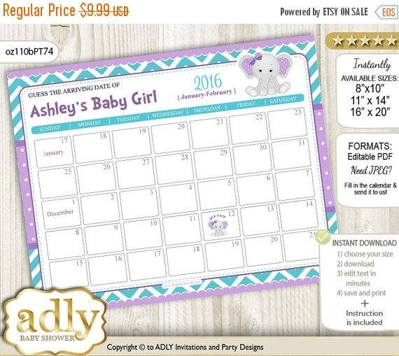 Girl Elephant Guess Due Date Calendar For Guess Due Date Calander