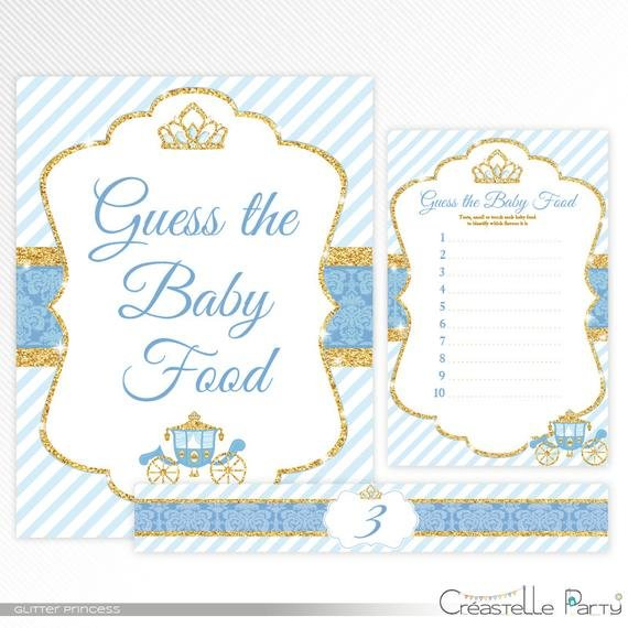 Glitter Princess Guess The Baby Food - Blue And Gold Baby Guess The Baby Printable