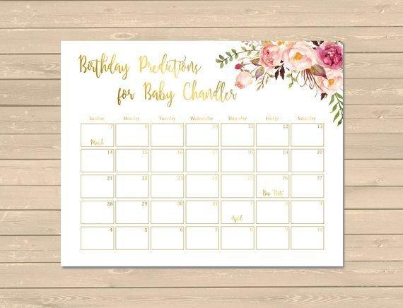 Gold Boho Floral Birthday Prediction Calendar, Printable Guess Baby Birthday Calendar