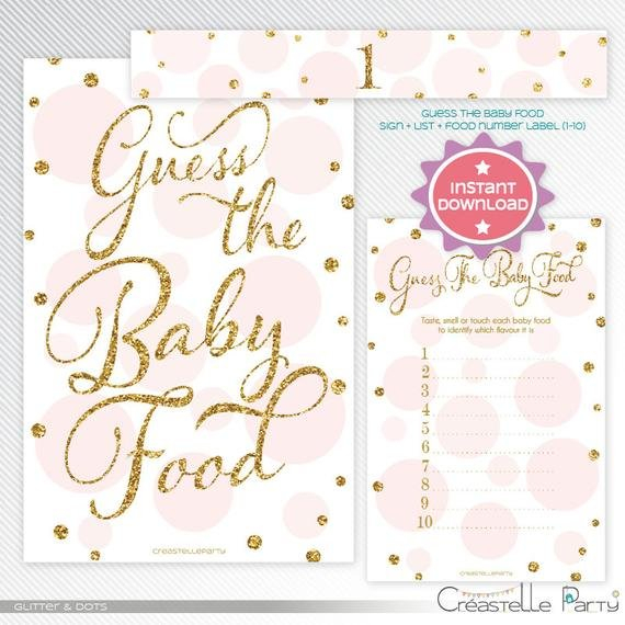 Gold Glitter And Pink Polka Dots Guess The Baby Food Guess The Baby Printable