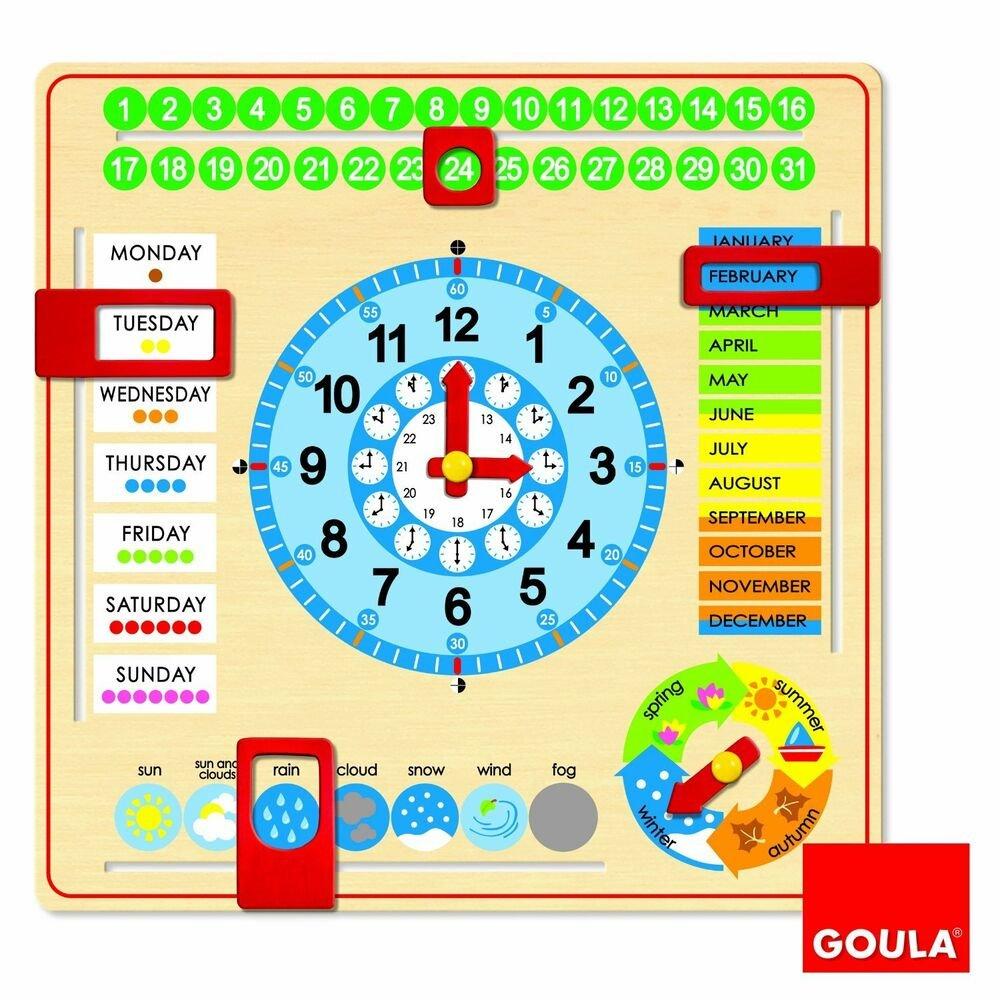 Goula Wooden Calendar Clock Months Years Season Wooden 3 Month Calendar Frame