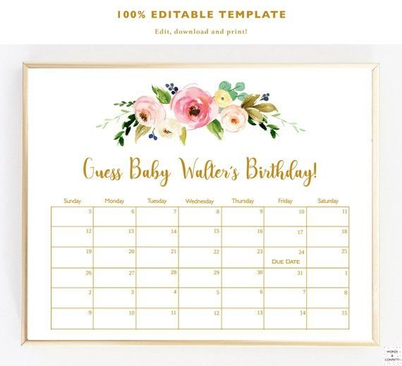 Guess Baby Birthday, Baby Due Date Calendar, Due Date Baby Date/Time Guessing Games Verbiage