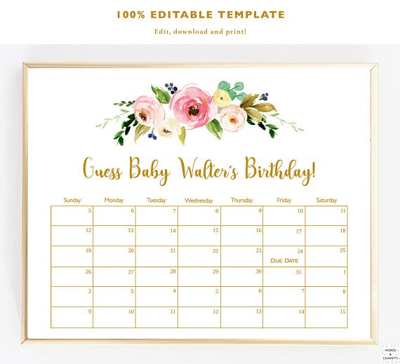 Guess Baby Birthday, Baby Due Date Calendar, Due Date Printable Guess The Due Date
