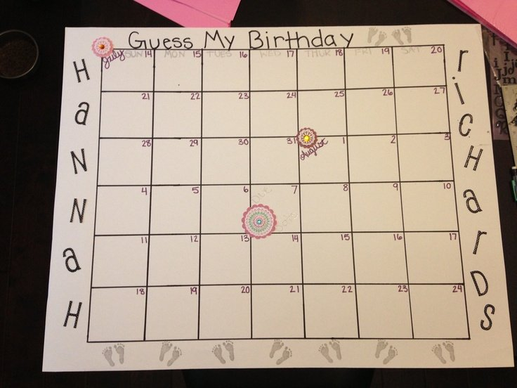 Guess Baby Birthday Calendar | Guess Baby Birthday Guess Baby Birthday Calendar