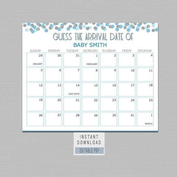 Guess Baby Birthday Calendar, Guess The Due Date Game, Boy Guess Baby Birthday Calendar