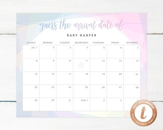 Guess Baby Due Date Calendar Template Free Printable Baby Guessing Calendar