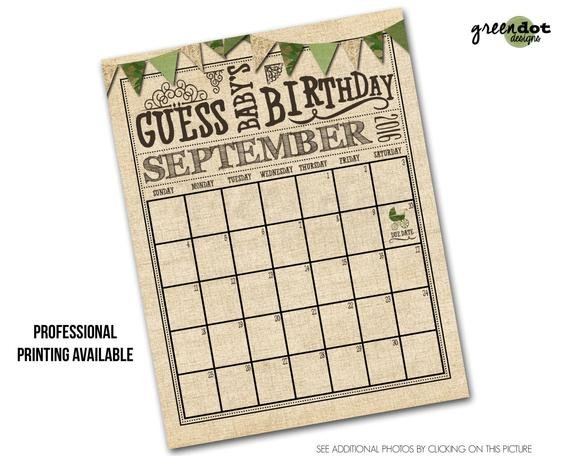 Guess Baby'S Birthday Calendar Guess Baby'Sgreendotdesigns Guess The Babys Birthday
