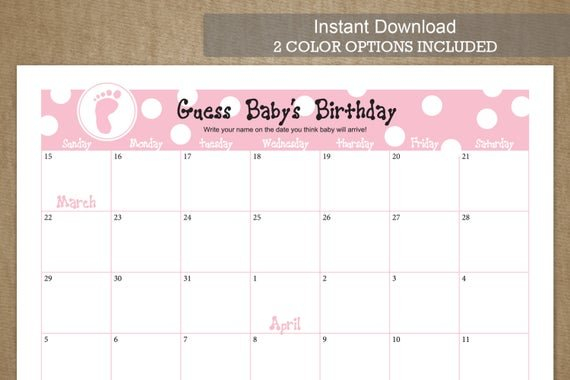 Guess Baby'S Birthday Due Date Calendarjackaroodesigningco Baby Date/Time Guessing Games Verbiage