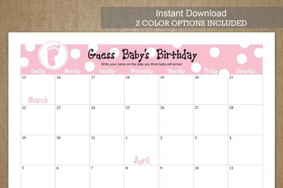 Guess Baby'S Birthday Due Date Calendarjackaroodesigningco Baby Due Date Calendar Template